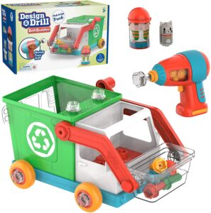 Educational Insights Design & Drill Bolt Buddies Recycling Truck Toy,
