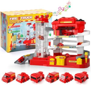 Lucky Doug Car Garage Track Toys for 3 4 5 6 Year Old Boys Gifts