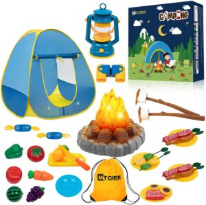 MITCIEN Kids Camping Play Tent with Toy Campfire
