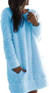 Nirovien Women's Fleece Tunic Pullover Long Sherpa Dress