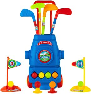 Toyvelt Kids Golf Club Set Golf Cart With Wheels