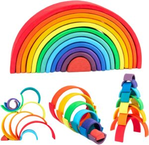 Wood City Rainbow Stacking Toys